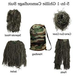 MOPHOTO 5 in 1 Youth Ghillie Suit Camouflage Hunting Apparel