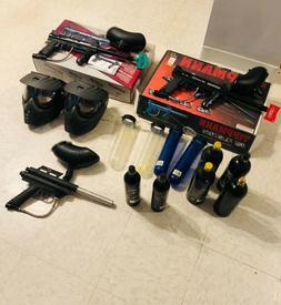 2 Tippmann 98 custom Paintball guns with accessories
