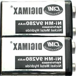 2 New Rechargeable 9V 280mAh NiMH Battery for paintball guns