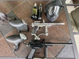 2 Paintball Guns, 2 Hoppers, 2 Gas Tanks, A mask