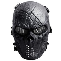 Airsoft Skull Full Face Mask Tactical Paintball Gun Game Com