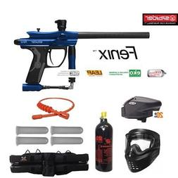 Spyder Fenix Maddog Gold Paintball Gun Marker Package Blue