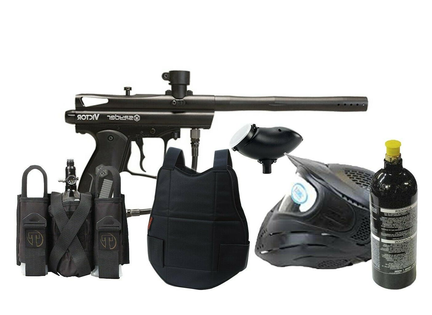 Classic Paintball Spyder Gun Set 20oz tank, goggles, loader,