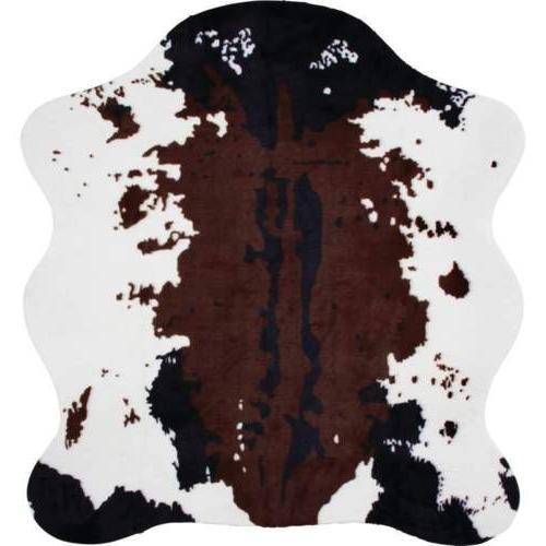 "AREA RUG COW PRINT 56""x 61"" Slip Resist Backing Hide Skin We"