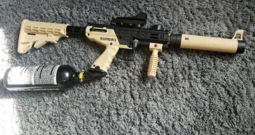Tippmann Gun W/Foregrip, Barrel, and Red Dot Sight