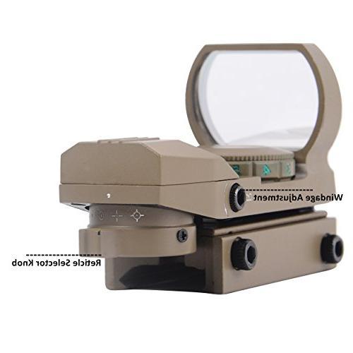 Ohuhu OH-RG-SC-4R Green Dot Gun Sight Reflex Sight 4 Reticles