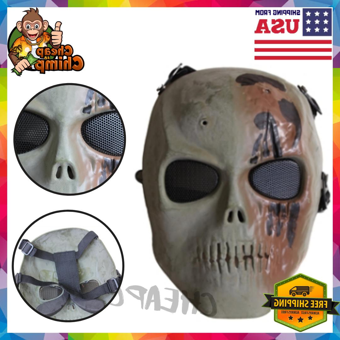 Safety Mask Skull Full Face with Metal Mesh Eye Protect Airs