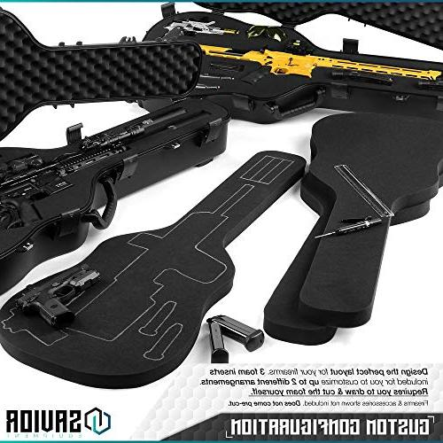 "Savior Equipment Rifle Shotgun Gun Guitar Case - Fit to 45"" Concealed Carry, Lockable"