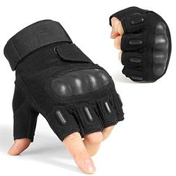 JIUSY Military Tactical Fingerless Gloves Army Rubber Hard K