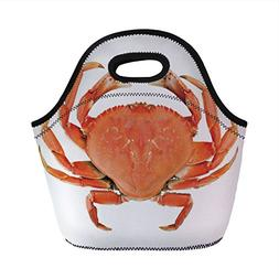 Neoprene Lunch Bag,Crabs Decor,Sea Animals Theme a Cooked Du