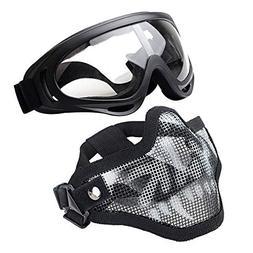 J&T Paintball Mask Steel Mesh Half Face Skull Mask + X400 UV