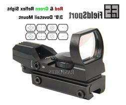 """Red and Green Reflex Sight with 4 Reticles, 3/8"""" Dovetail Mo"""