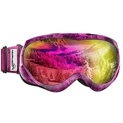 OutdoorMaster Kids Ski Goggles - Helmet Compatible Snow Gogg
