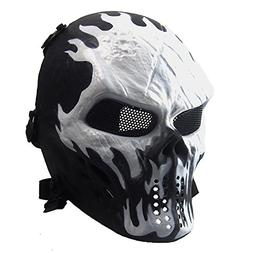 Annay Skull Skeleton Full Face Airsoft Mask with Metal Mesh