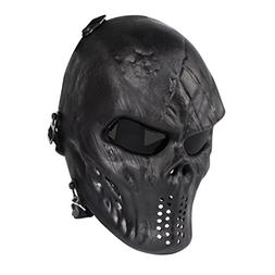 Skull Skeleton Full Face Airsoft Mask with PC Gray Lenses Ar