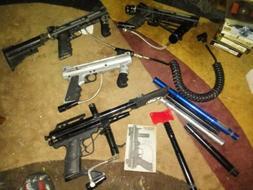 Tippman 98 Custom Paintball Gun Lot of 4 And Accessories