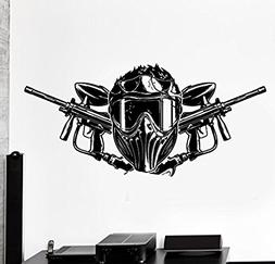 Large Wall Vinyl Decal Paintball Airsoft Guns Helmets Home I
